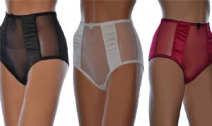 High Waisted Vintage Style Panties in Sheer Mesh, Black White or Red